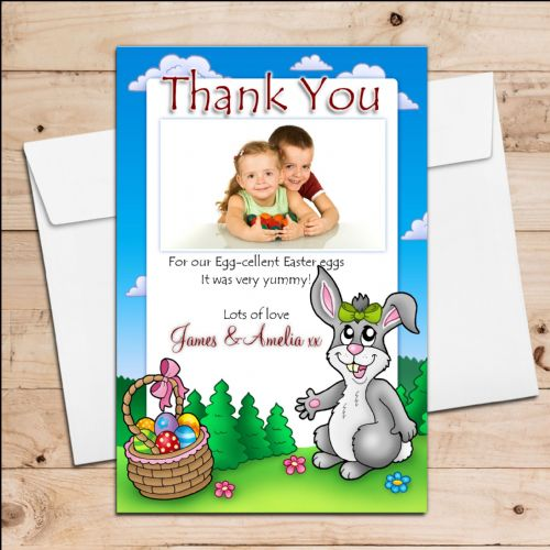 10 Personalised Girls Boys Easter Egg Thank you Photo Post Cards N7